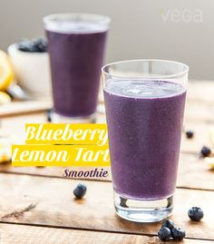 "Blueberry Lemon Tart Smoothie: tart your day with a serving of ""I've totally got this"" in a glass. The blueberry lemon tart smoothie will help you stride through your busiest schedule knowing you've got your nutritional bases covered. —quickly and deliciously. #BestSmoothie #VegaSmoothie"