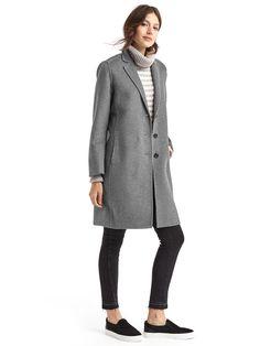 GAP Grey Wool Coat, Chunky Turtleneck