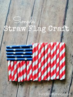 Simple Flag Craft for Kids made with patriotic paper straws. A perfect Fourth of July or Memorial Day craft for kids.
