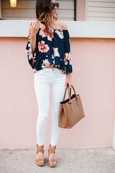 White denim + floral off shoulders blouse
