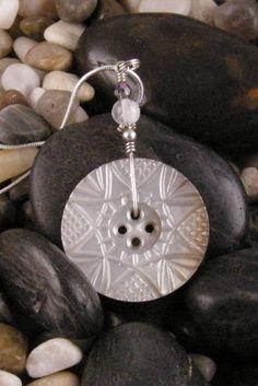 vintage button pendant...unique piece
