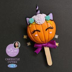 Pumpkin Unicorn cakesicle made exclusively with Satin Ice Orange Halloween Cookies, Halloween Treats, Cakepops, Pretty Cakes, Cute Cakes, Mug Cupcake, Paletas Chocolate, Magnum Paleta, Carousel Cake