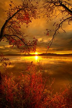 Sunset on Mauthe Lake, Wisconsin.