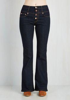 Karaoke Songstress Jeans in Dark Wash - Flared - Blue, Solid, Casual, Boho, 70s, Folk Art, Festival, Flare / Bell Bottom, Fall, Denim, Variation, High Rise, Full length, Dark Wash