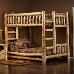 Cedar Lake Full over Full Log Bunk Bed by JHE's Log Furniture Place