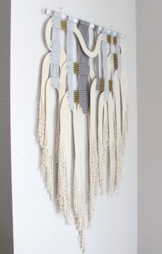 Macrame Wall Hanging gry wht 2 by HIMO ART One of a by HIMOART