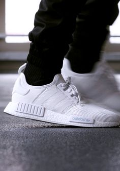 All White NMD - Adidas White Sneakers - Latest and fashionable shoes - All White NMD Moda Sneakers, Sneakers Mode, Running Sneakers, Running Shoes For Men, Sneakers Fashion, Fashion Shoes, Men's Fashion, Mens Running, Adidas Sneakers