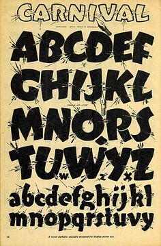Carnival fun lettering font alphabet via Speedball textbook Graffiti Lettering Fonts, Hand Lettering Alphabet, Graffiti Alphabet, Lettering Styles, Vintage Typography, Typography Letters, Letter Fonts, Sign Writing, Handwriting Fonts