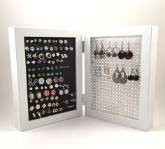 This Double Framed Earring Holder is the perfect size to display and organize your earrings. I am so excited to introduce the little sist… Jewellery Storage, Jewellery Display, Jewelry Organization, Stud Earring Organizer, Earring Display, Small Earrings, Diy Earrings, Stud Earrings, Jewelry Holder