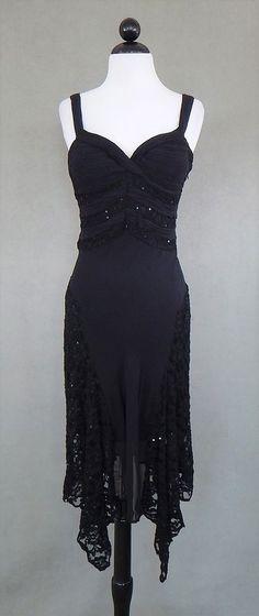 SUE WONG NOCTURNE Black Empire Waist Lace Sequin Pleated Silk Dress Size 8 #SueWong #PartyCocktail