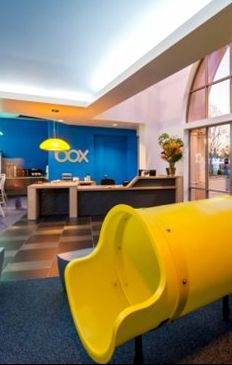 Box, Los Altos: The cloud-storage startup's headquarters is classic Silicon Valley chic: Bright colors, big amenities, bold branding, and, of course, a slide.