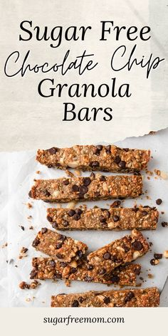 These easy keto granola bars are perfect for a snack or breakfast or anytime! #sugarfreemom #snacks #healthy #granolabars Chocolate Chip Granola Bars, Chewy Granola Bars, Sugar Free Peanut Butter, Sugar Free Chocolate Chips, Delicious Recipes, Yummy Food, Low Carb Granola, Low Carb Sweeteners, Free Mom