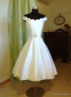 Wedding Dress Tea Length, Short, Silk, KISS ME BABY on Etsy, $600.00