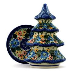 Polish Pottery 8-inch Christmas Tree Candle Holder | Boleslawiec Stoneware | Polmedia H2489B | Polmedia