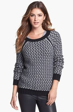 Two by Vince Camuto Side Zip Honeycomb Knit Sweater