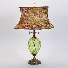 Kinzig Design Sonya, Table Lamp. Sonya, features an oval shaped shade, artistically rendered in lime, rose and peach. Handmade in USA. $760