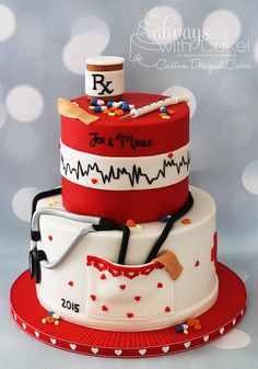 Nurses Cake -- All decorations made out of fondant and gumpaste. Pill bottle made with rice cereal treats.