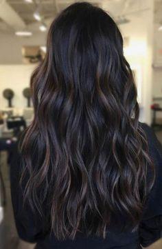 Brunette Bayalage, Dark Brunette Hair, Brown Hair Balayage, Hair Color Balayage, Bayalage Black Hair, Balayage Hair Dark Black, Dark Hair With Lowlights, Black Hair With Brown Highlights, Haircolor
