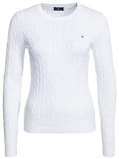 Stretch Cotton Cable - Gant - Vit - Tröjor - Kläder - Kvinna - Nelly.com