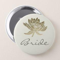 GLAMOROUS PALE GOLD WHITE LOTUS FLORAL BRIDE BUTTON