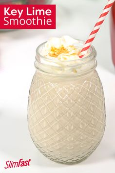 Find your escape to a refreshing tropical getaway with our delicious key lime pie smoothie recipe. At only 239 calories and of protein, you'll be sipping your way to paradise. Key Lime Smoothie Recipes, Slim Fast Smoothie Recipes, Weight Loss Smoothie Recipes, Healthy Smoothies, Key Lime Pie, Punch Recipes, Shake Recipes, Drink Recipes, Slim Fast Shakes