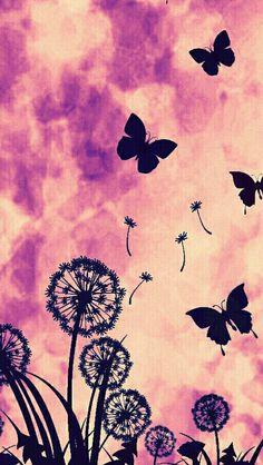 Image via We Heart It #butterfly #flowers #garden #pink