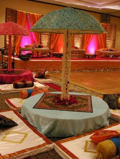 Like the setup - put some cones around the tables, some guests can do their own mehndi, umberellas are a little ugly, but the setup is what i like. India Wedding, Desi Wedding, Wedding Stage, Indian Wedding Decorations, Wedding Themes, Wedding Events, Wedding Ideas, Weddings, Indian Theme
