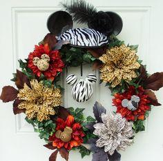 Zebra Mickey Mouse Disney Wreath Mickey by SparkleForYourCastle, $129.00