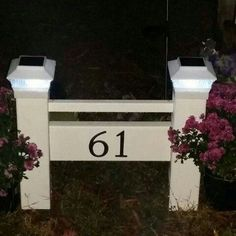 Address Sign with Solar Lights by Solardrivewaymarkers on Etsy Driveway Markers, Diy Driveway, Driveway Landscaping, Driveway Sign, Mobile Home Landscaping, Landscaping Software, Landscaping Design, Address Signs For Yard, Address Numbers