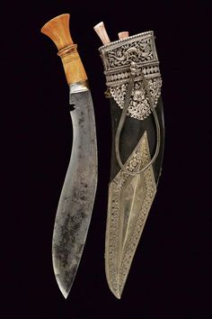Lock, Stock, and History — Luxury Nepalese kukri, circa from Czerny's. Swords And Daggers, Knives And Swords, Indian Sword, Dagger Knife, Cool Knives, Weapon Concept Art, Custom Knives, Custom Leather, Knife Making
