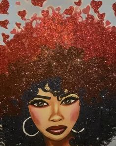 Natural Hair Art - Curls With Love Art Painting, Black Girl Magic Art, Afro Painting, Black Art Painting, Female Art, Drawings Of Black Girls, Art, Painting Art Projects, Beautiful Art