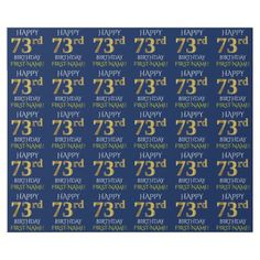 "Blue Faux Gold ""HAPPY 73rd BIRTHDAY"" Wrapping Paper - faux gifts style sample design cyo"