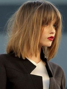 Long bob hair with long bangs.