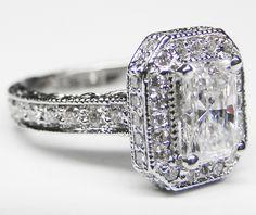 Radiant Diamond Halo Engagement Ring Pave Diamond Band