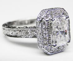 Radiant Diamond Halo Engagement Ring with Pave Diamond Band