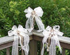 Nautical fish net bow starfish bow beach wedding by UptownGirlzz