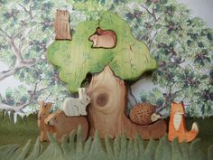 Waldorf wooden toys Forest Set with Tree by CeadarHillHeirlooms, $56.50