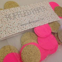 Party Confetti Gold Glitter and Neon Hot Pink 1 inch (100 pieces)