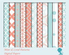 Digital Papers for scrapbooking & papercraft: INSTANT DOWNLOAD Mint/Duck Egg Blue & by digidame $6.00AUD