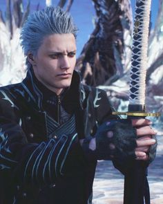 Image may contain: 1 person Devil May Cry, Hack And Slash, Nero Dmc, Dmc 2, Vergil Dmc, Gamer Tags, Superhero Villains, Video Game Music, The Way He Looks
