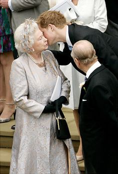 Prince Harry greeting his grandparents, Queen Elizabeth II and Prince Philip.
