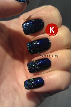 Glitter gradient: China Glaze Up All Night with H & M Blue Bliss