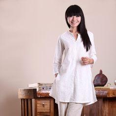 Pure Plain Split Chinese Linen Shirts White by ChineseBespoke, $70.00