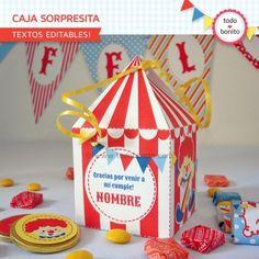 Circo niños: cajita sorpresita para imprimir