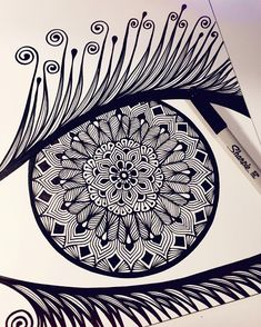 this is what happens when it's 2 am and I can't sleep, I create an eyeball? #zentangle #zenspire #zenspiredesigns #wip @sharpie #sharpie #mandala