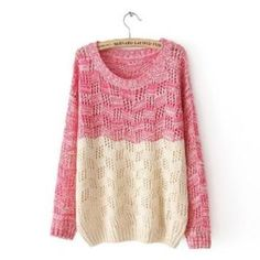 Mixed Color Knit Sweater for Women Red (abc)