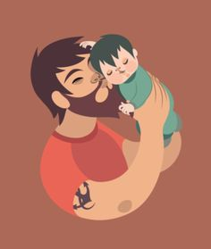Creative Illustration, Behance, Child, Father, and Dad image ideas & inspiration on Designspiration Baby Illustration, Character Illustration, Graphic Design Illustration, Deco Dyi, My Champion, Illustrations Posters, Vector Art, Concept Art, Character Design
