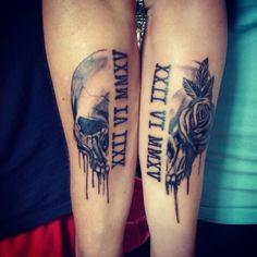 Skull Couple Tattoo, Skull Hand Tattoo, Skull Sleeve Tattoos, Wolf Tattoo Sleeve, Skull Tattoo Design, Hand Tattoos, Marriage Tattoos, Always Tattoo, Meaningful Tattoos For Couples