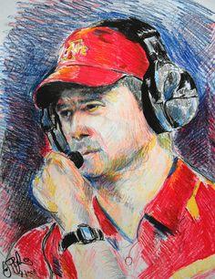 Paul Rhoads Iowa State by Jon Baldwin Art Isu Football, Iowa State, How To Memorize Things, Wall Art, Drawings, State University, College, Hands, Paintings