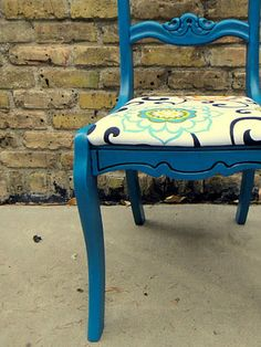 turquoise reupholstered chair